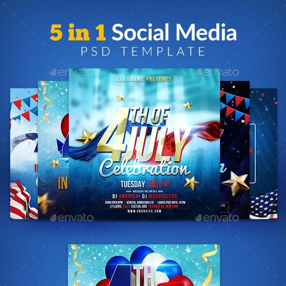 5 in 1 4th Of July Social Media  Template