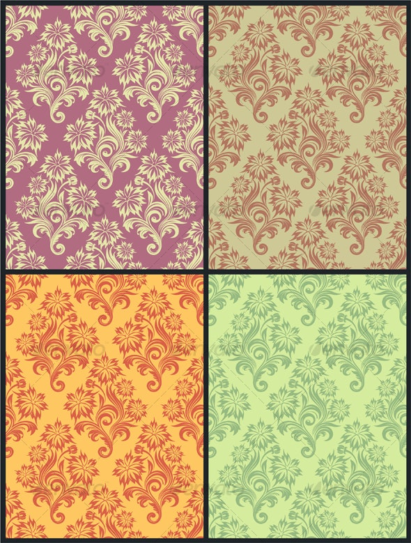 Vector seamless floral wallpaper - Backgrounds Decorative