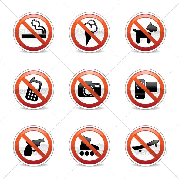 Forbidden / Prohibited signs - Commercial / Shopping Conceptual
