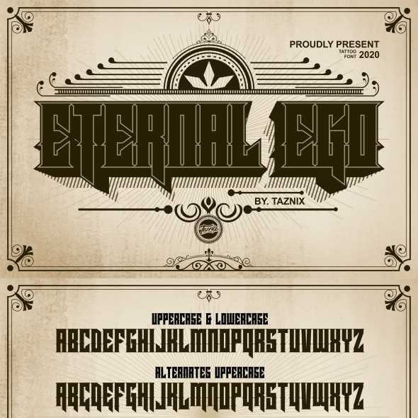 Eternal Ego Tattoo Typeface