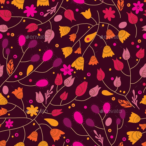 Autumn Floral Seamless Pattern with Leaves - Miscellaneous Vectors