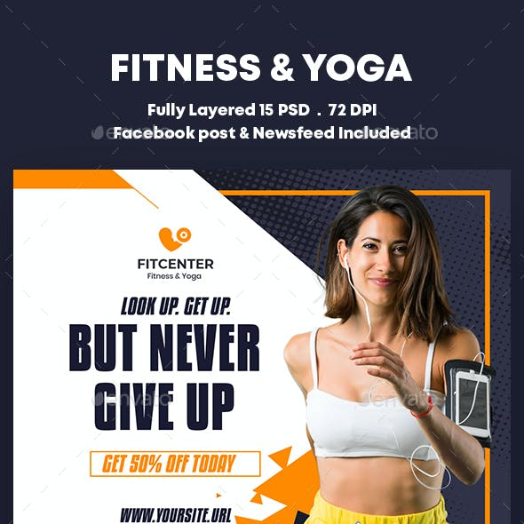 Fitness & Yoga Center Banners Ad