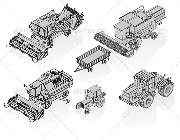 Vector Agricultural Vehicles Isometric Set - Man-made Objects Objects