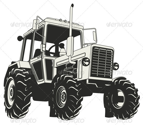 Vector Agricultural Tractor Silhouette - Man-made Objects Objects