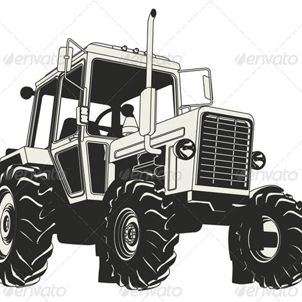 Vector Agricultural Tractor Silhouette