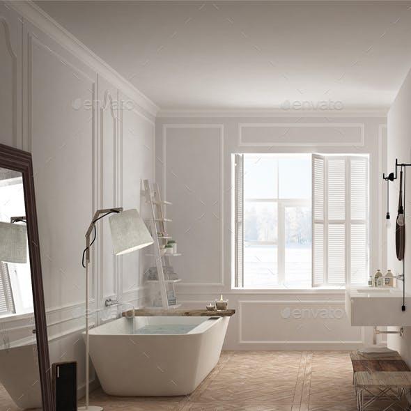 Bedroom and bathroom in scandinavian style
