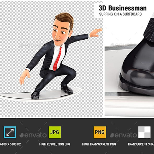 3D Businessman Surfing on a Surfboard
