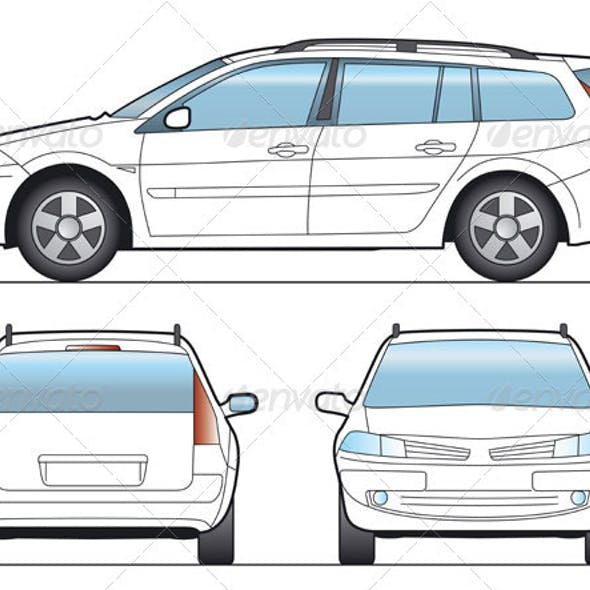 Station Wagon Car Template