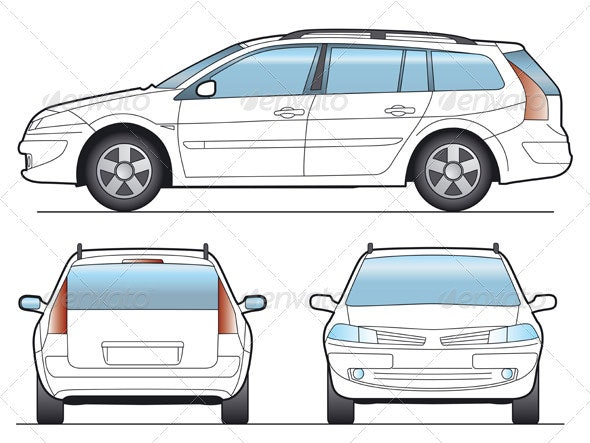 Station Wagon Car Template - Objects Vectors
