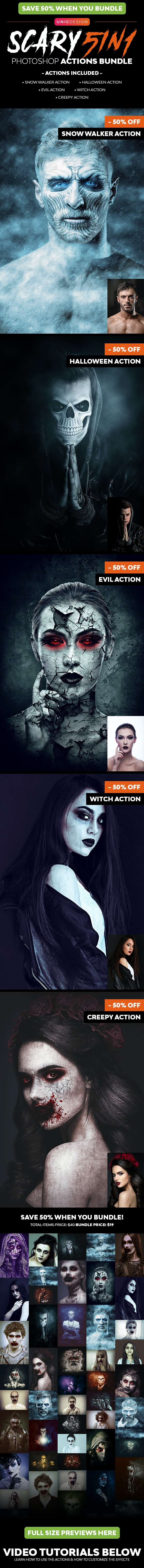 Scary 5in1 Photoshop Actions Bundle - Photo Effects Actions