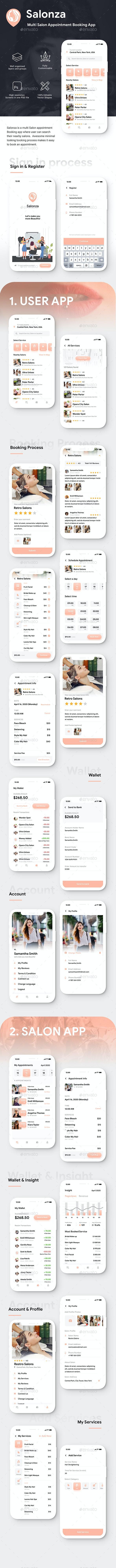 Multi Salon Appointment Booking App | User & Salon App UI Kit | Salonza - User Interfaces Web Elements