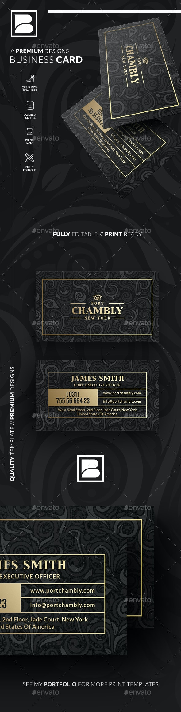 Gold And Black Business Card - Business Cards Print Templates