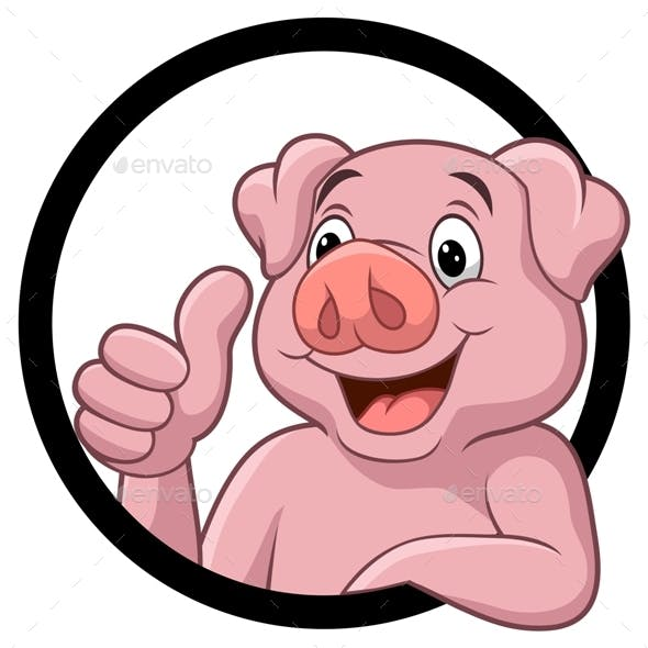 Cartoon Pig Clipart Graphic