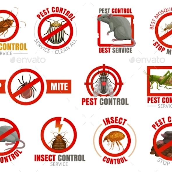 Pest Control Icons with Insects and Animals