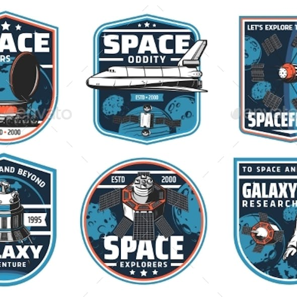 Space Exploration Spaceship and Astronaut Icons