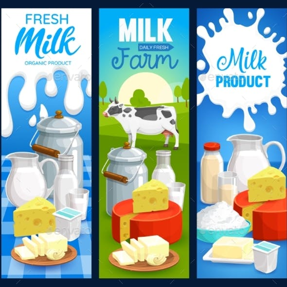Milk Food Products of Dairy Farm, Vector Banners