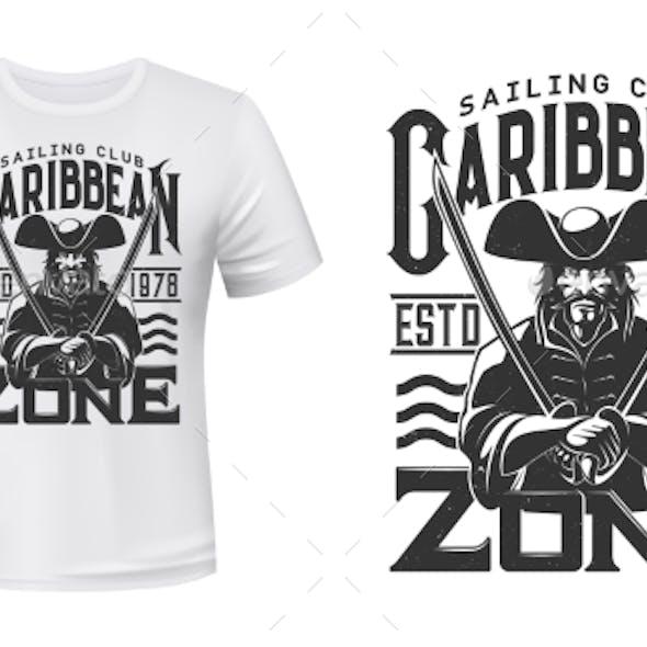 Captain Pirate T-Shirt Print Mockup