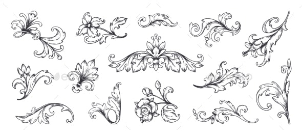 Baroque Ornaments - Flourishes / Swirls Decorative
