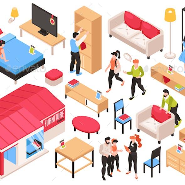 Furniture Store Isometric Set