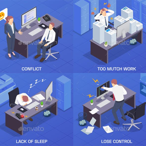 Squares Problem Situations At Work Isometric Icon Set