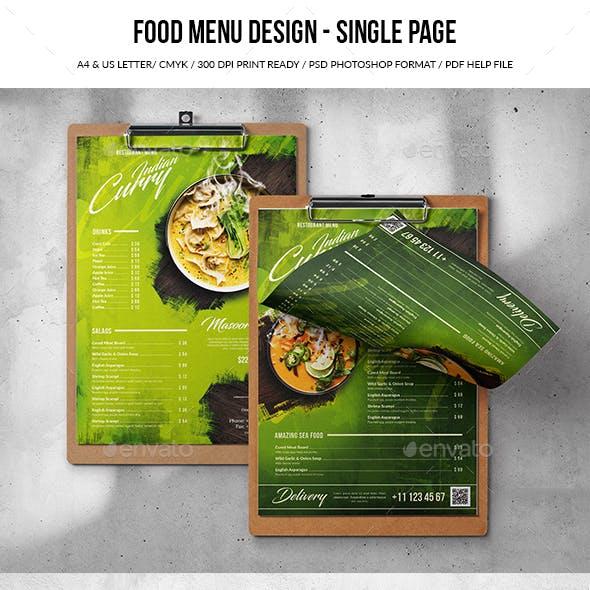 Single Page A4 & US Letter Food Menu