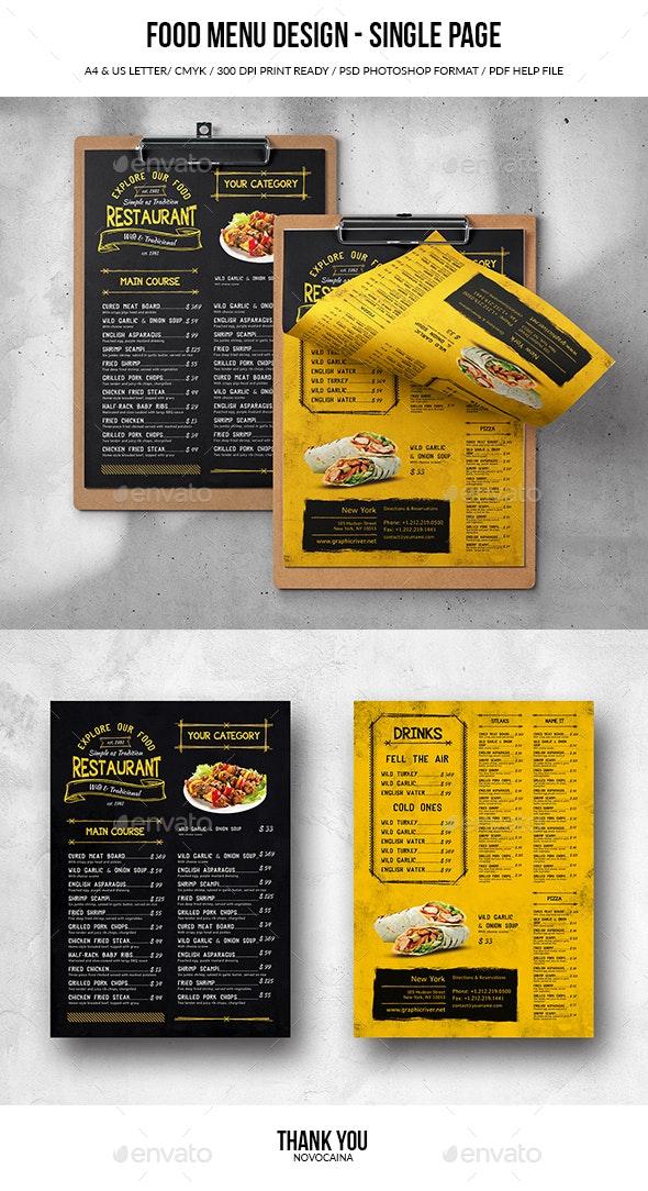 Single Page A4 & US Letter Food Menu - Food Menus Print Templates