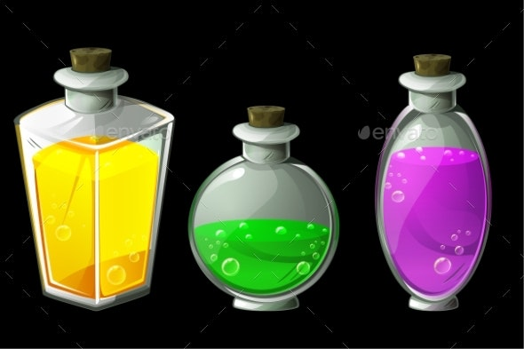 Set of Vector Isolated Magic Potions in Glass - Miscellaneous Vectors