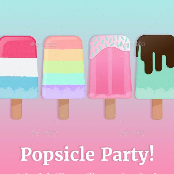 Popsicle Party Illustration & Digital Paper