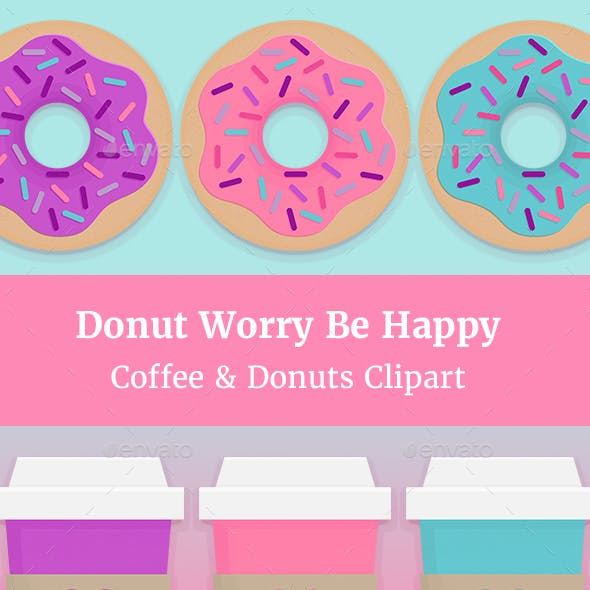 Donut Worry Be Happy Clipart Collection