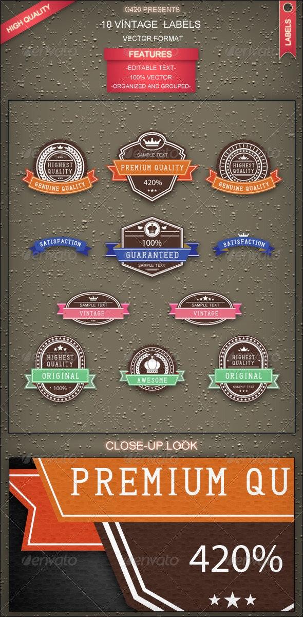 10 Vintage Labels - Decorative Symbols Decorative