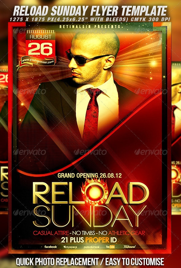Reload Sunday Flyer Template - Clubs & Parties Events