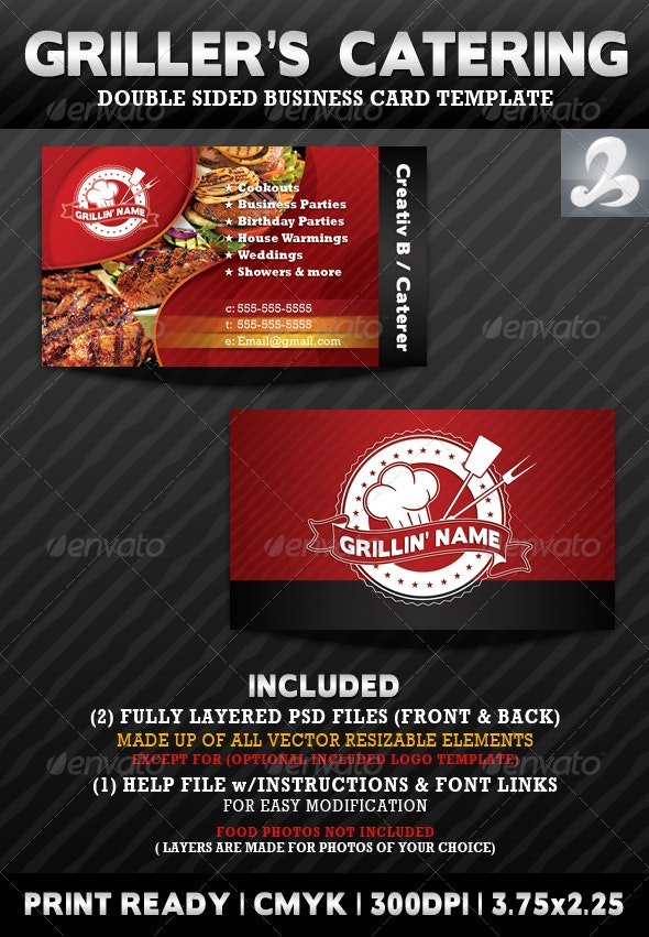Griller's Catering Business Card Templates - Industry Specific Business Cards