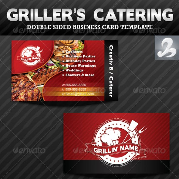 Griller's Catering Business Card Templates