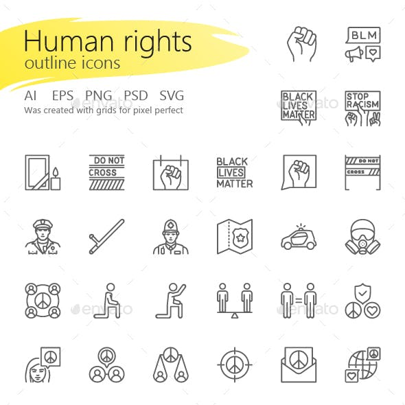 Human rights outline iconset
