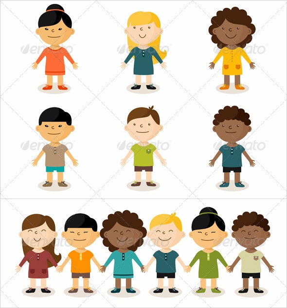 Multicultural Children - People Characters