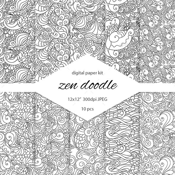 Black and White Zendoodle Digital Paper Pack for Scrapbooking and Coloring