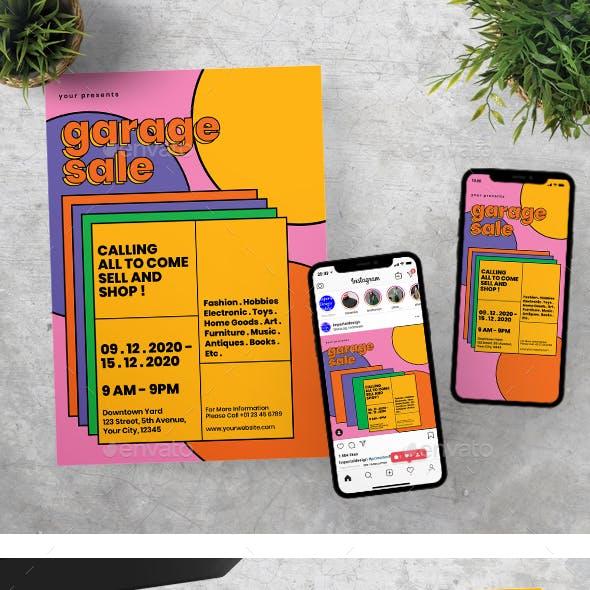 Garage Sale Flyer Instagram Set Template