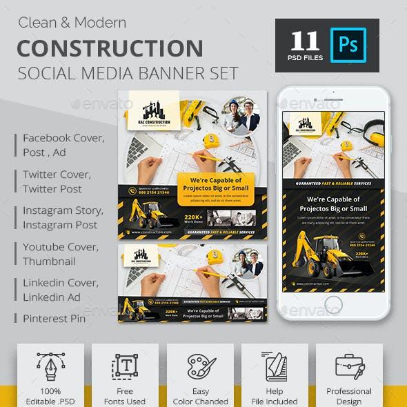 Construction Social Media Banner Pack