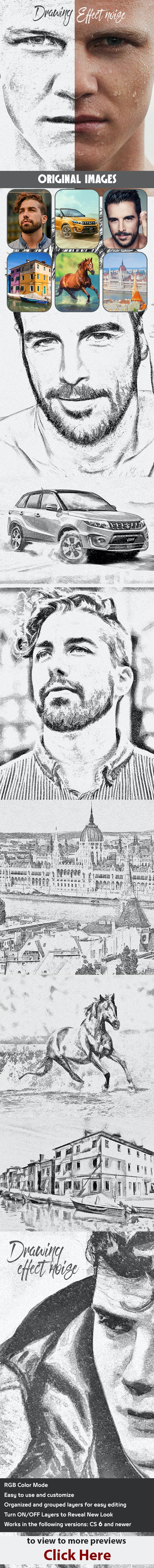 Drawing Effect Noise - Actions Photoshop