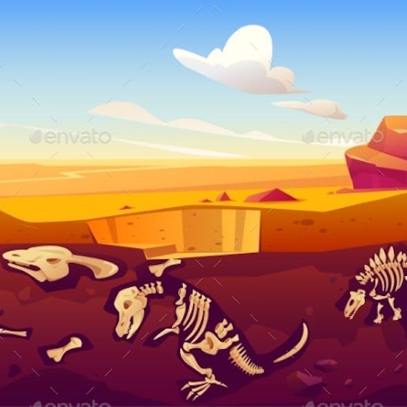 Fossil Dinosaurs Excavation in Sand Desert