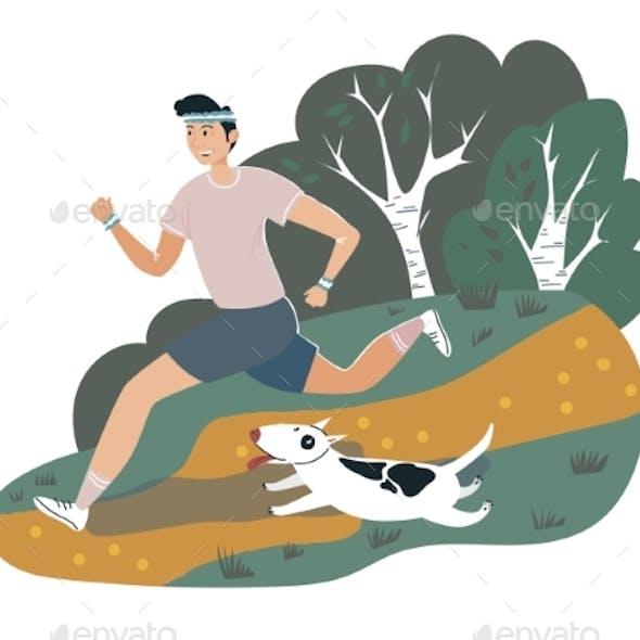 Male Runner Sportsman Walking Dog on Outdoor Park