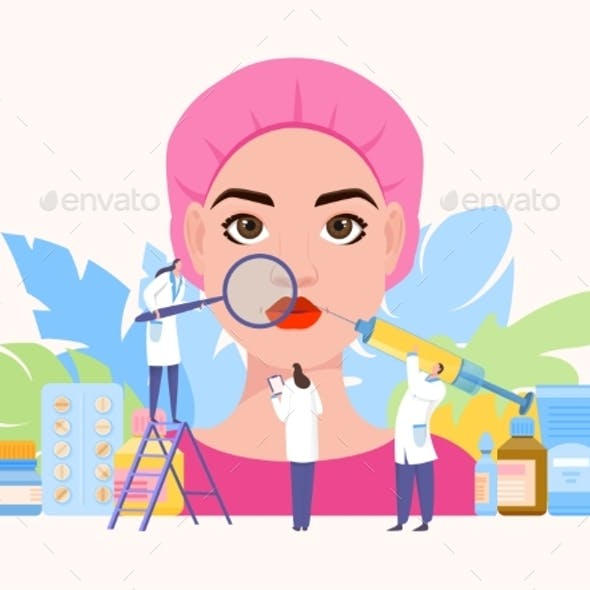 Beauty Injection Team Work Vector Illustration