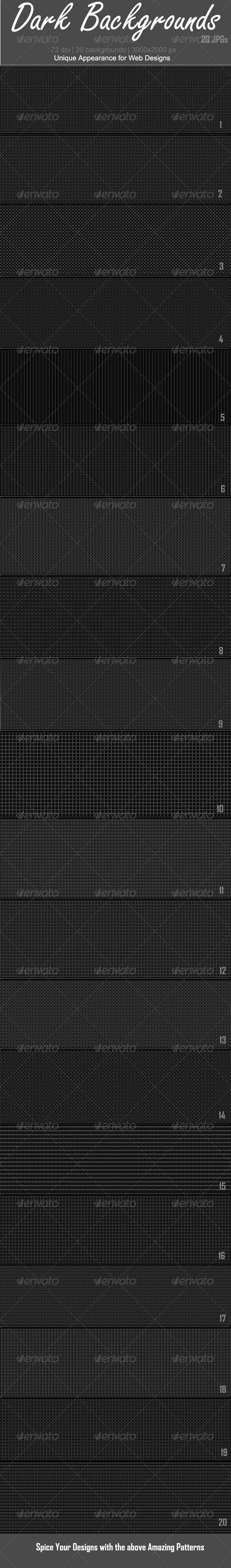 20 Core Backgrounds Dark - Patterns Backgrounds