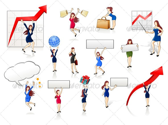 Businesswomen Icon Set 1 - People Characters
