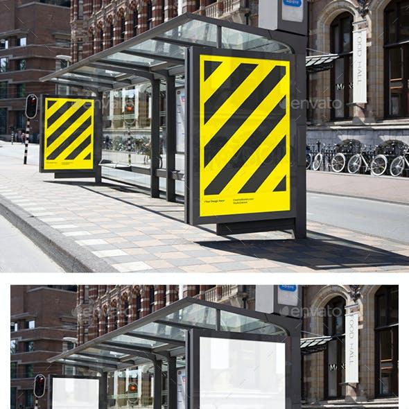 City Bus Stop Poster Mockup