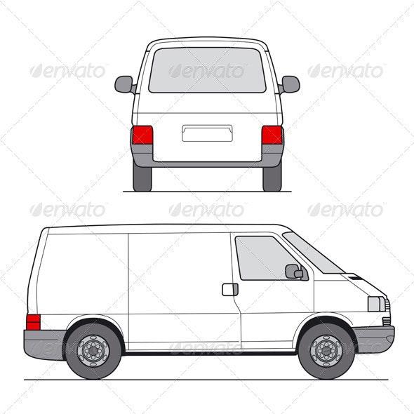 Delivery Mini Van Template - Objects Vectors