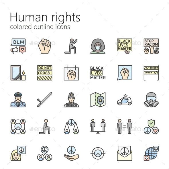 Human rights outline colored iconset