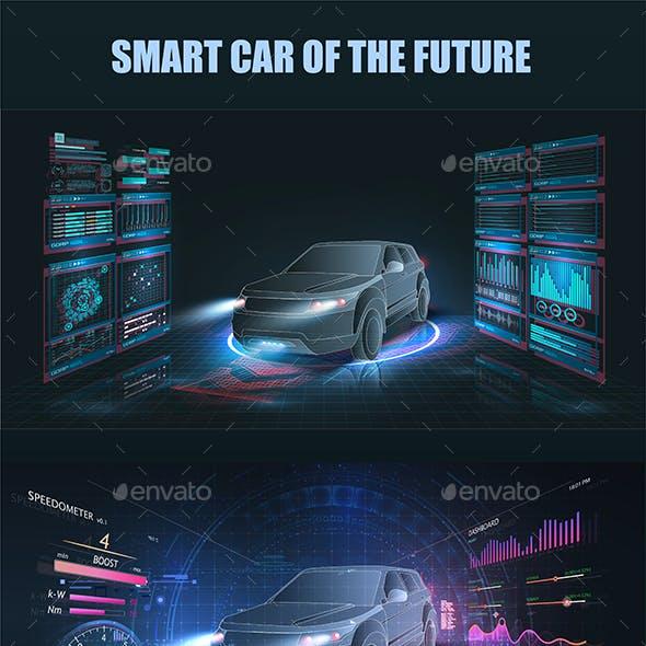 Futuristic HUD Car Service