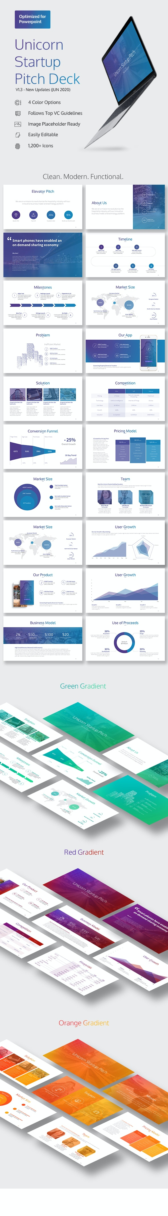 Unicorn Startup Pitch Deck (PPTX) - Pitch Deck PowerPoint Templates