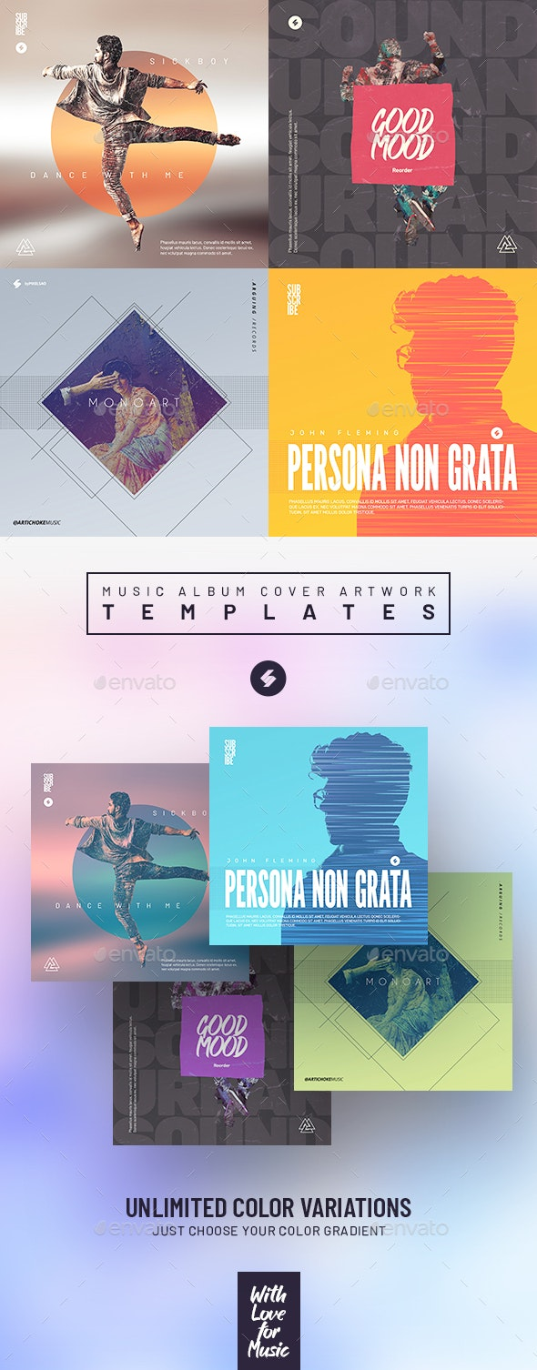 Music Album Cover Artwork Templates Bundle 32 - Miscellaneous Social Media